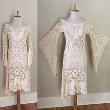 VTG 70s BoHo Sheer CUT OUT Hippie Cream Crochet LACE Angel Slv Wedding DRESS