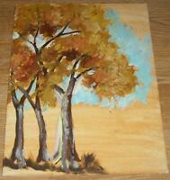 VINTAGE MINIMALIST NAIVE FOLK ART AUTUMN TREES LANDSCAPE OIL PRIMITIVE PAINTING