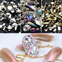 Fine Colorful Glitter Glass Diamond Flatback Nail Art Rhinestones Bottom Crystal