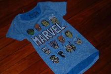 NEW Women's Vintage Marvel Superheros Blue Heather Graphic Shirt (Small)