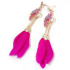 Fashion pink colored parrot feather Tassel long drop earring for women