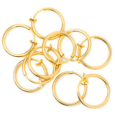 Fake Earring Lip Nose Belly Eyebrow Non-Piercing Rings 10 Pack Gold I.P.