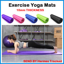Yoga10mm Thick Gym Exercise Workout Fitness Pilates Non Slip No Carry Strap UK