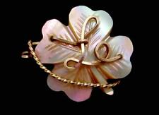 Antique Victorian Irish Shamrock 4 Leaf Clover Mother of Pearl Initial Pin 23687