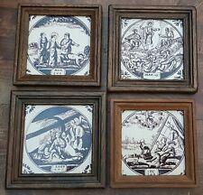 4 Vintage Dutch Braun Purple Magenta Biblical Religious Bible Tiles Framed