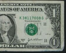 2003A $1 (ONE DOLLAR) – NOTE, BILL - SERIAL NUMBER & GREEN SEAL LOW - ERROR