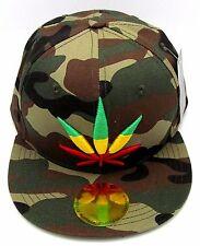 MARIJUANA Leaf Camouflage Snapback Cap Hat Rasta 420 Cannabis Weed  Camo NWT