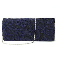 Navy Blue Satin Lace Floral Clutch Bag Evening Shoulder Bag Wedding Prom Handbag