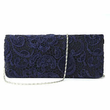 Navy Blue Satin Lace Floral Clutch Bag Evening Shoulder Bag Wedding Prom Handbag