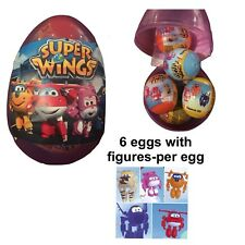 """1 New Jumbo 6"""" Egg With 6 SUPER WINGS PLASTIC SURPRISE EGGS W/Toy Figure Per Egg"""