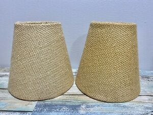 "Rustic ""Bulb Clip"" Style BURLAP LAMP SHADES  set Of 2 Cottage Cabin Decor"