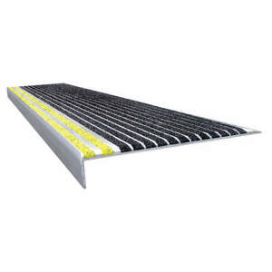 WOOSTER 511BY3 Stair Tread,Blk/Ylw,36in W,Extruded Alum