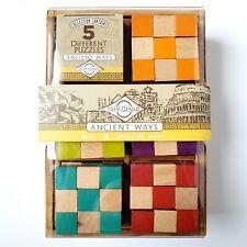 True Genius Wooden Cube Brainteaser Puzzles Level 4 Ancient Ways - Brand New