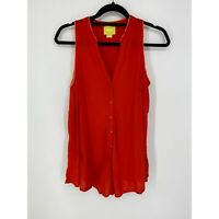 Anthropologie Maeve Womens Size 8 Sleeveless Tank Blouse Red Orange Button Front