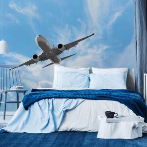 VLIES FOTOTAPETE Tapete Wandbilder XXL Büro Flugzeug HIMMEL Wolken 4082