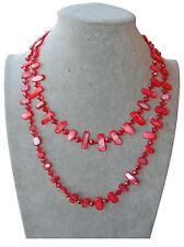 rosso acce Collana Lunga in Madreperla vera,perle,pietre Dure,cristalli da donna