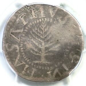 1652 N-4 R-4 PCGS F Details Lg Plan, No Pellets Pine Tree Shilling Colonial Coin
