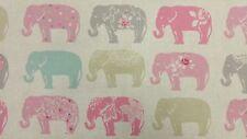Clarke and Clarke Elefanti PASTELLO Designer tessuto per Tende Tappezzeria Craft