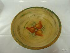 Vintage Folk Art Wooden Bowl Pears