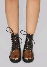 lace up combat Transparent clear Flat PVC boots size 7
