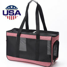 Pet Cat Dog Carrier Mesh Sling Handbag Tote for 12Lbs-Dog / 14Lbs-Cat (Pink L)