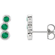 Emerald Three-Stone Ear Climbers In 14K White Gold