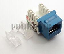 25 Pack Lot - CAT5e RJ45 110 Punch Down Keystone Modular Snap-In Jacks - Blue