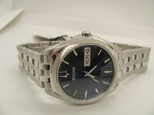 Bulova Men's Stainless Steel Blue Face Dial Date & Day Watch 96C129