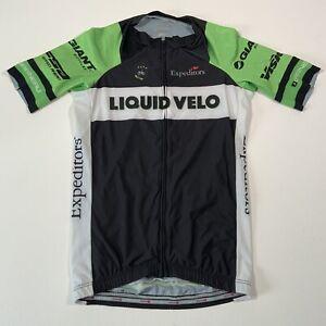 Garneau Black & Green Liquid Velo Short Sleeve Cycling Jersey - Size Small