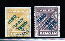 Brazil #126, 128 (BR783) Green Surcharge Rouletted, Used, FVF, CV$42.25