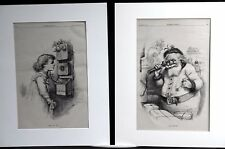 Thomas Nast Christmas Pair 1884 HELLO SANTA CLAUS Santa and Child on Telephone