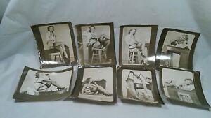 Vintage Set of 8 original 1950s WOMAN NUDE FEMALE posing office desk phone mail