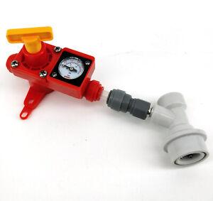 Kegland Inline Spunding Valve Adjustable Pressure Gauge 5/16 Pushfit Ball Lock