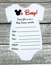 Set Of 10 Mickey Mouse Baby Shower Invitations With Envelopes   Fill In