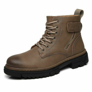Retro Men's Leather Shoes Ankle Boots Large Size New Round Toe Lace-Up Business