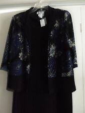 En Focus Black Holiday Evening Wear 2 Piece Dress Suit Jacket Career Size 18