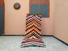 "Handmade Vintage Moroccan Rug,2'52""x7'18""Ft,Berber Azilal Color Checkered Carpet"