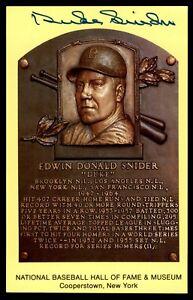 Duke Snider Hall of Fame Plaque Postcard Autograph -Boulder Collection-