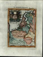 Netherlands Holland Low Country Pays Bas 1719 Mallet miniature antique map