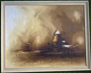 Renowned David Cartwright Original Oil On Flax Canvas 'The Windmill' 98cm X 78cm