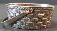 """SMALL SILVERPLATE WEAVED LOOK HANDL BASKET MADE IN ITALY RAIMOND 3 1/4"""" X 2 1/2"""""""