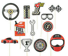Pack of 12 - Race Car Photo Stick Props Racing Birthday Photo Booth Party Decor