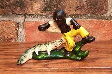 Cast Iron Vintage Black Americana Boy & Alligator Beer Bottle Opener