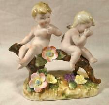 "Vtg Post Wwii Ceramic Figurine 2 Cherubs On A Branch Japan ""N"" Over ""C"" Mark"