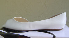 NEW NINE WEST WHITE LEATHER FLATS PUMPS SIZE 7.5 M