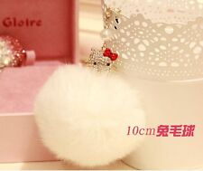 Hello Kitty Fur Ball 3.5mm Anti-Dust Ear Cap Plug For All Smart Phone,Pendant