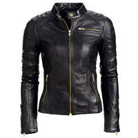New Style Womens Real Lambskin Leather Motorcycle Jacket Slim Fit Biker Style