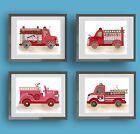 fire truck engine wall art decor watercolor print for boy nursery bedroom