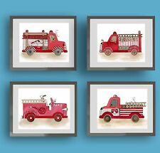 firetruck fire engine baby boy nursery kid children wall art print decor picture