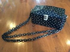 Vintage Black Lucite Box Purse With Rhinestones & Chain Style Strap